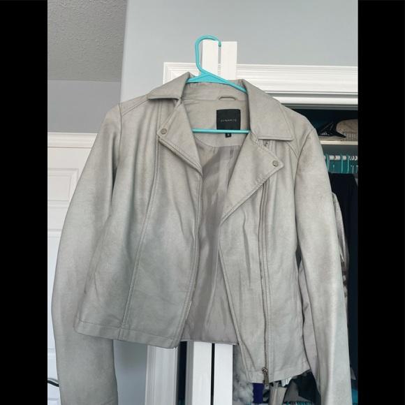 Grey Leather Jacket.